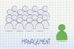 Ledarskap, ledning och individualism stock illustrationer
