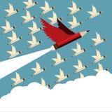 Ledarskap och anhängare för röd blyertspenna olikt med vingflyg till himmel vektor illustrationer