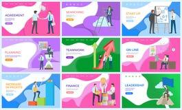 Ledarskap och presentation av starten, idéer stock illustrationer