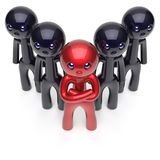 Ledarskap stiliserade röda teamworkmän för tecken tränger ihop svart royaltyfri illustrationer