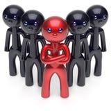 Ledarskap stiliserade röda teckenteamworkmän tränger ihop symbolen stock illustrationer