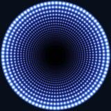 LEDD bakgrund för spegelabstrakt begrepprunda Blåa flammande ljus som bleknar till mitten vektor illustrationer