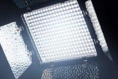 LEDD belysningsutrustning för foto- och videoproducti Arkivbild
