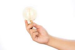 LEDD lampa för ljus kula i hand Arkivbild