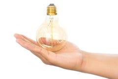 LEDD lampa för ljus kula i hand Fotografering för Bildbyråer