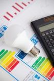 LEDD ljus kula på diagram för energieffektivitet Arkivbilder