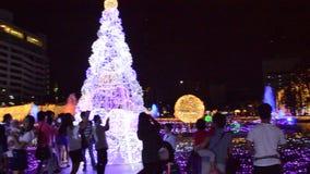 ledd ljus show i Thailand på natt arkivfilmer
