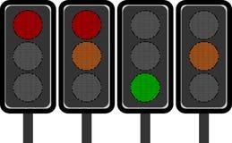 LEDDE trafikljus Fotografering för Bildbyråer