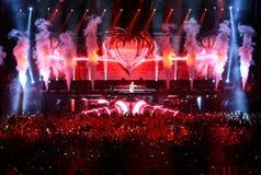 Leden van ARMIN ONLY: Intens toon met Armin van Buuren in Minsk-Arena op 21 Februari, 2014 Stock Fotografie