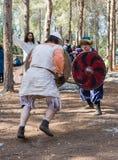 Leden van de jaarlijkse wederopbouw van het leven van de Vikingen - ` Viking Village ` toont een strijd op spears in het bos dich Stock Fotografie