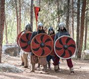 Leden van de jaarlijkse wederopbouw van het leven van de Vikingen - ` Viking Village ` toont gevechtsvorming dichtbij in het bos  Royalty-vrije Stock Foto