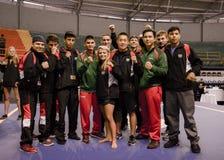 Leden van het team van Mexico en van Verenigde Staten Wushu bij Panamerikaans X Stock Foto's