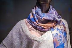 Ledenpop met een gevormde sjaal en een warme wollen sweaterMann royalty-vrije stock afbeelding