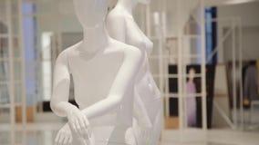 Ledenpop of naaistersmodel met winkelcomplex op achtergrond stock footage