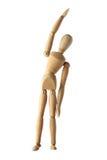 Ledenpop oud houten proefoefening geïsoleerd acteren op wit Stock Fotografie