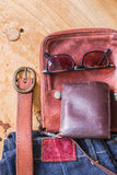 Leder für Reise Stockfotografie