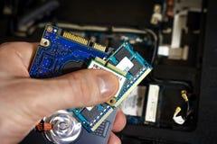 leder specialisten för reparationer för reparationen för bärbar datormoderkortplan Förbättring av bärbara datorn till nya delar E Royaltyfri Bild