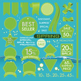 Lederaufkleber grüne Oliven des Elements auf gesetztem Konzept des Frühlinges Stockfoto