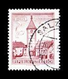 Lederer - torn, Wels (Upper Austria), byggnadsserie, circa 196 Royaltyfri Bild