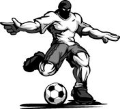 Lederfarbener Fußball-Spieler, der Kugel tritt Stockfotos