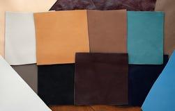 Lederflicken der unterschiedlichen Farbe Stockfotografie