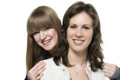 Lederjacke mit zwei Frauen Lizenzfreie Stockbilder