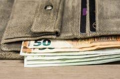Lederne Geldbörse mit Eurorechnungen Stockbilder