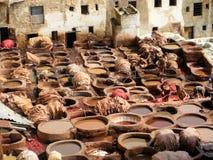 Lederne Gerberei in Fez (Marokko) Stockbild