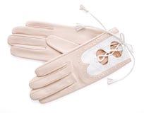 Lederne Handschuhe der Frau Lizenzfreie Stockfotos