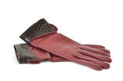 Lederne Handschuhe der Frauen getrennt auf Weiß Stockfotografie