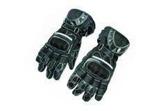 Lederne Handschuhe des Motorrades Stockfoto