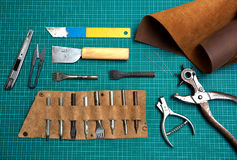 Lederne Herstellungswerkzeuge Lizenzfreie Stockfotografie