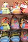 Lederne marokkanische Schuhe für Verkauf Lizenzfreies Stockbild