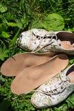 Lederne orthopädische Einlegesohlen mit Laufschuhen auf dem Gras heal stockbild
