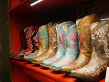 Lederne Texas-Stiefel Stockfoto