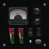 Lederne UI-Anwendersoftware-Kontrollen eingestellt Schalter, Griffe, Knopf, Lampe, Volumen, Entzerrer, Voltmeter, Speedometr lizenzfreie abbildung