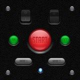 Lederne UI-Anwendersoftware-Kontrollen eingestellt Schalter, Knopf, Lampe Illustration des Vektor EPS10 stock abbildung