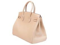 Lederne weibliche Handtasche. Stockfotografie