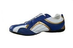 Lederner blauer Schuh Stockfotos