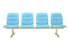 Lederner blauer Stuhl getrennt Stockfotografie