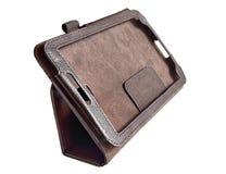Lederner Kasten für Tablette der Computer Stockfotografie