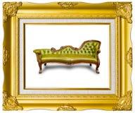 Lederner Luxuxlehnsessel im Fotofeld Lizenzfreies Stockbild