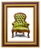 Lederner Luxuxlehnsessel im Fotofeld Lizenzfreies Stockfoto