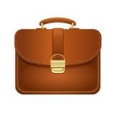 Lederner Manager Briefcase, lokalisiertes Bild Stockfotografie