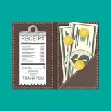 Lederner Ordner mit Bargeld, Münzen und Bankcheck Lizenzfreie Stockfotos
