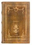 Ledernes altes Buch mit Goldrahmen Lizenzfreie Stockfotografie