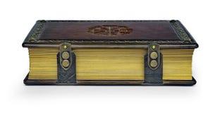 Ledernes Buch mit dem Vegvisir, altes isländisches magisches Symbol lizenzfreies stockfoto