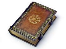 Ledernes Buch mit dem Vegvisir, altes isländisches magisches Symbol lizenzfreie stockbilder
