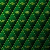 Ledernes Muster des Diamanten mit goldener Krone Stockbild
