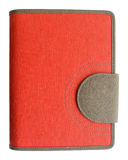 Ledernes rotes Abdeckungsnotizbuch stockfotografie